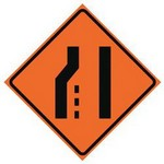 left lane ends Traffic Signs in Spanish