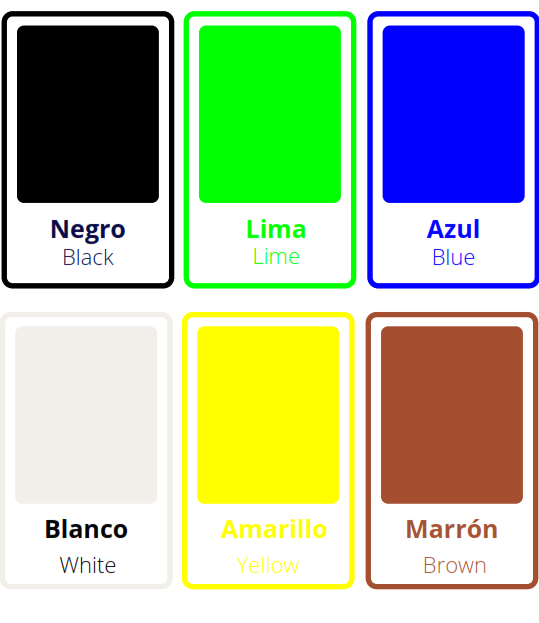 colors flashcards in Spanish