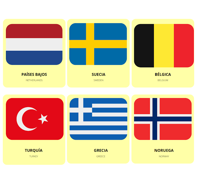 world flags in Spanish and English